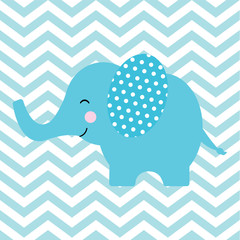 Baby shower card with cute elephant on chevron background suitable for postcard, greeting and invitation card