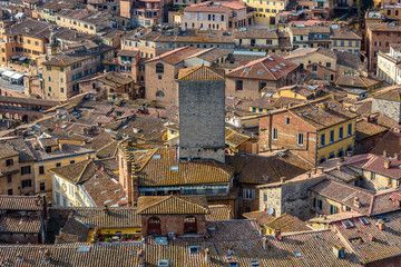 Aerial view of the city of Siena