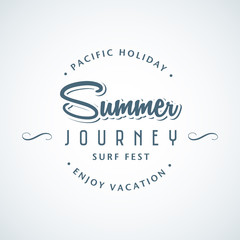 Vector illustration vintage template of summer trip logo for seasonal travel sale. Design element for summer holiday, travel agency, beach vacation and party.