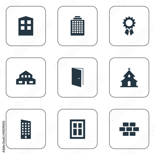 Vector illustration set of simple construction icons for Floor synonym