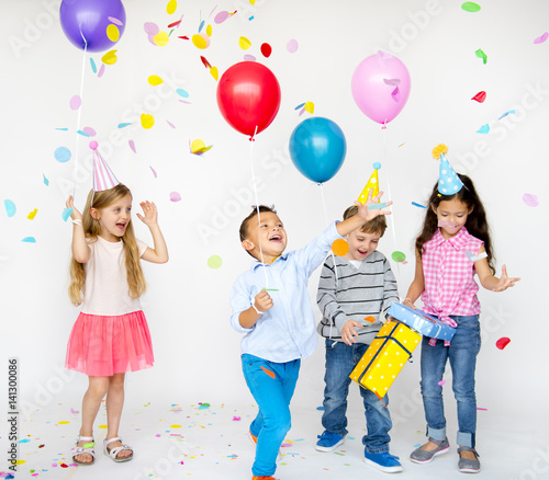 """18th Birthday Party Ideas Limo Hire Party Bus: """"Group Of Kids Celebrate Birthday Party Together"""" Stock"""