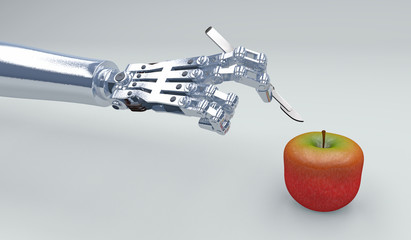 3D illustration of a robot hand holding a scalpel about to cut into an apple. Metaphor for increasing use of technology to manipulate the food supply.