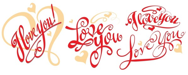 I love You. Hand lettering calligraphic handwriting. Vector image