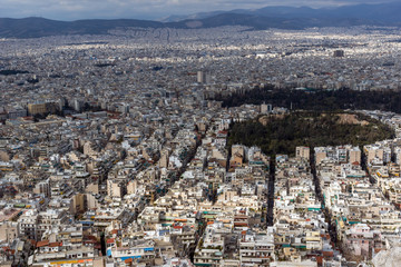 Amazing view of the city of Athens from Lycabettus hill, Attica, Greece