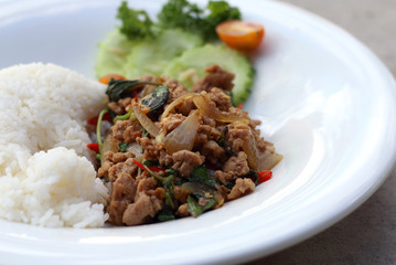 Thai spicy food basil pork fried rice recipe (Phat Kra Pow Moo)
