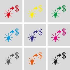 good idea moneyicon stock vector illustration flat design