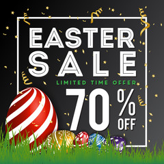 Easter Sale Special Discount Background Banner. Season Greeting Background Template. Vector illustration