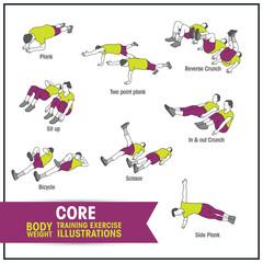 Core bodyweight training exercise illustrations