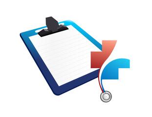 medical chart clipboard. illustration design