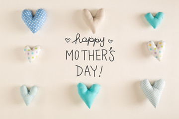 Mother's Day message with blue heart cushions