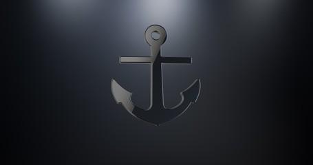 Sea Anchor Black 3d Icon