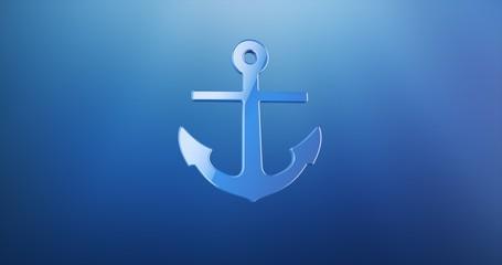 Sea Anchor Blue 3d Icon