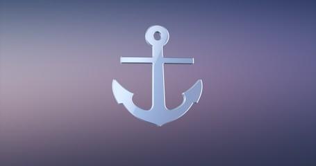Sea Anchor Silver 3d Icon