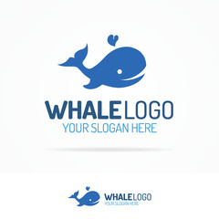 Blue whale with drops water logo set flat color style isolated on white background for use travel company, kids emblem, swim, pool, sanitary, seafood market etc. Vector Illustration