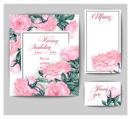 Set of wedding invitations with pink roses. Hand drawn illustration. Vector