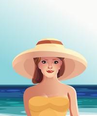 Девушка в шляпе на пляжном отдыхе солнечно вектор