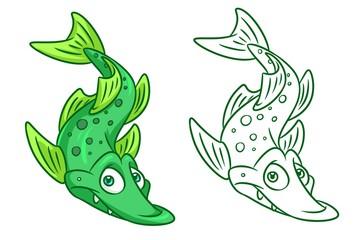 fish  pike cartoon Illustrations isolated image animal character