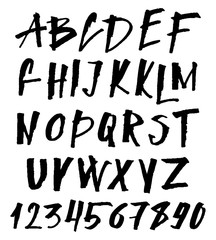 Hand Drawn Brush Font. Uppercase and Lowercase Hand Painted Ink Abc, Creative Letters for Your Design.