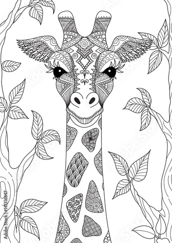 Line Art Design Of Giraffe For Adult Coloring Book Page