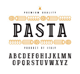 Decorative slab serif font and pasta label