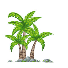 Illustration of diffrent palms with stones on white background