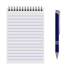 Vector notebook with a blue pen on a white background