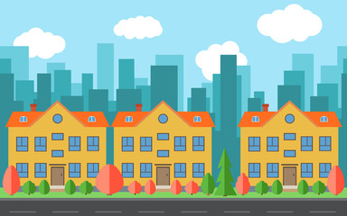Vector city with three cartoon buildings. Summer urban landscape. Street view with road and cityscape on a background