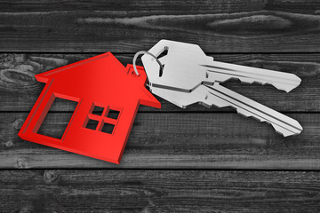 Haus - Schlüsselbund rot mit Schlüsseln - Hintergrund Holz