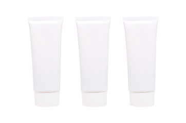 Blank White cosmetic tube pack of Cream Or Gel isolated on white background