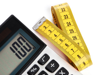 Centimeter and calculator isolated