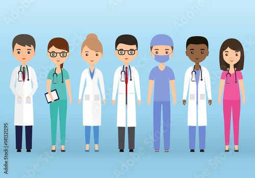 Medical Characters Flat People Doctors And Nurses Standing Together
