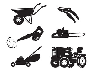 Gardening equipment icons