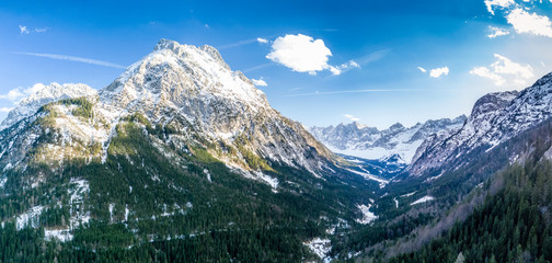 Alpine mountain with panorama view into a valley. Shot with a drone in the Karwendel mountain range