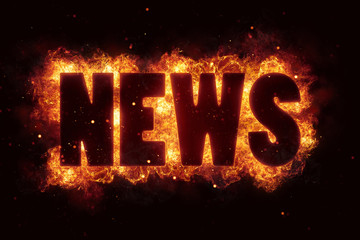 world news hot text on fire flames explosion burning