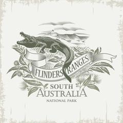 Крокодил, Национальный парк Флиндерс-Рейнджиз, Южная Австралия, винтаж, сепия, иллюстрация, вектор
