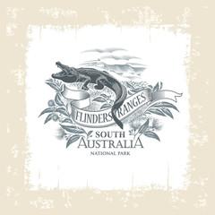 Крокодил, Национальный парк Флиндерс-Рейнджиз, Южная Австралия, винтажная рамка, иллюстрация, вектор