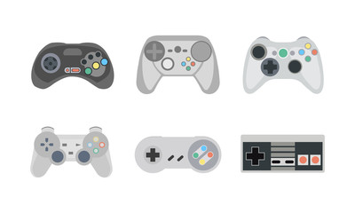 Retro gamepads and joysticks icons isolated on white background. Console for video game. Vector illustration