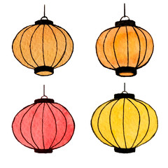 Hand drawn watercolor set of chinese lanterns isolated on the white background
