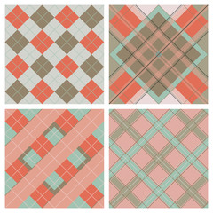 Set of Seamless Tartan & Checkered Plaid Patterns.