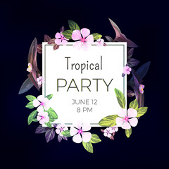 Dark vector tropical background with pink and purple flowers. Exotic summer party flyer design.
