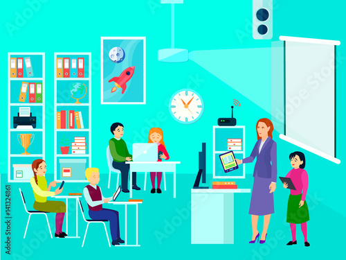 Modern Classroom Vector : Quot modern education classroom composition stock image and
