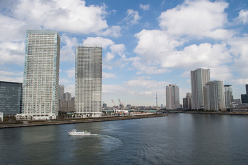 Sumida River and Skyscrapers in Tokyo