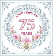 Anniversary card with 75 years in a frame with an ornament and flowers. Vector illustration