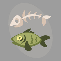 Fish bone garbage for recycling graphic wild cartoon sea skull life design and dead floating water pollution vector illustration.
