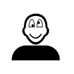 Flat black crazy face emoticon icon