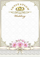 Wedding invitation with flowers and rings
