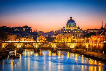 Poster de jardin Rome Night view of St. Peter's cathedral and Tiber river in Rome, Italy