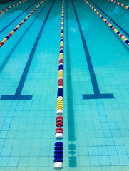 Swimming pool with colorful lane markers