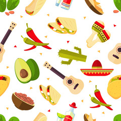 Aztec theme, cartoon mexican food, tequila, red hot chili peppers, sombrero, guitar, tacos, cactus vector seamless pattern