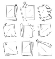 Blank vintage photo frames doodle vector collection